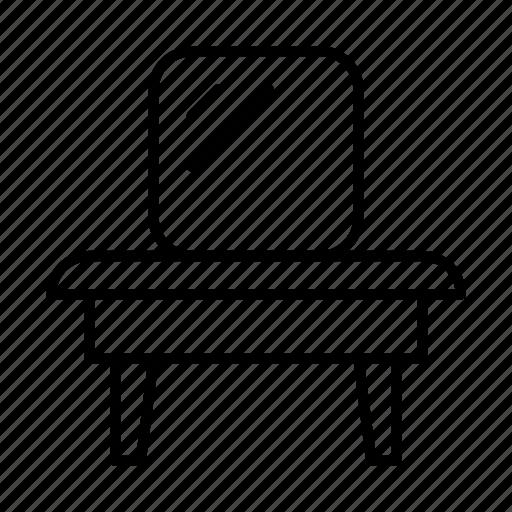 desk, furniture, interior, lamp, mirror, table, table mirror icon
