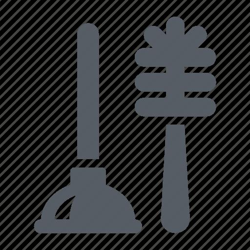 brush, equipment, household, plunger, toilet icon