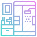 bath, bathroom, house, mirror, shower, water icon