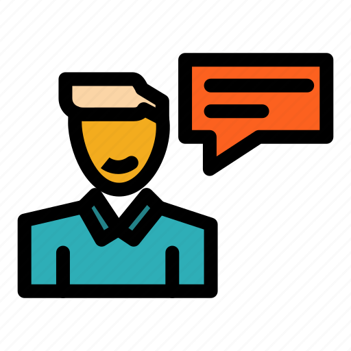 chat, conversation, man, message, popup icon