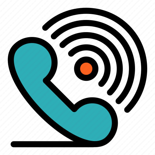 call, phone, receiver, ring, signals icon