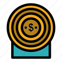 achievement, money, target icon
