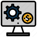 gear, generator, money, monitor, screen, setting