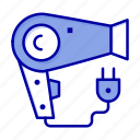 dryer, hair, hairdryer, plug icon
