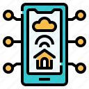 device, home automation, home control, house, smartphone, wireless icon