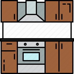 cupboards, equipment, home, kitchen, stove, vent icon
