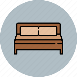 bed, double, fabric, furniture, home, wooden icon