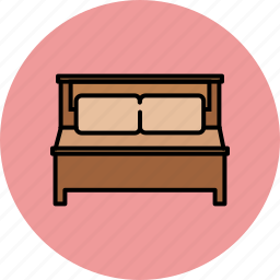 bed, double, fabric, furniture, home icon