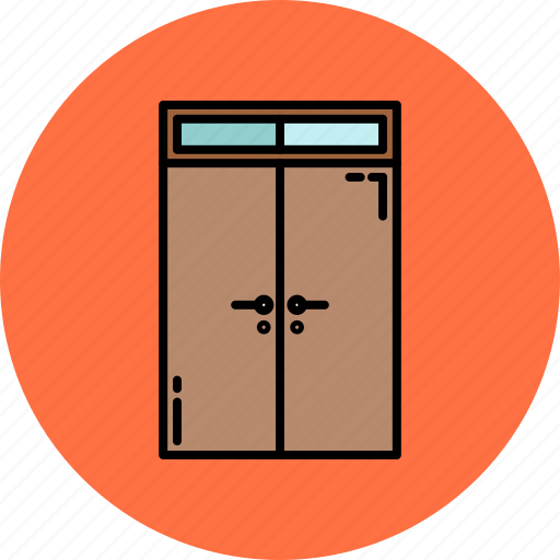 doors, double, frame, furniture, glass, home icon