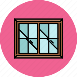 double, frame, furniture, glass, home, window icon