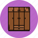 bedroom, closet, doors, furniture, home, large icon