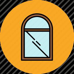 furniture, glass, home, round, window icon