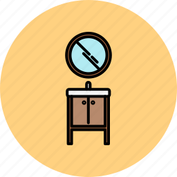 bathroom, doors, furniture, home, mirror, sink, small icon