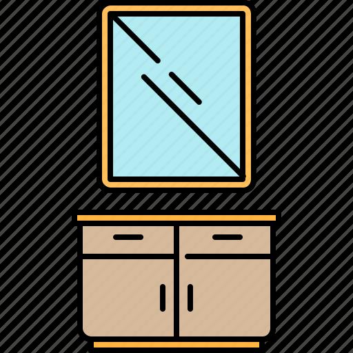 bathroom, cabinet, doors, drawers, mirror, sink icon