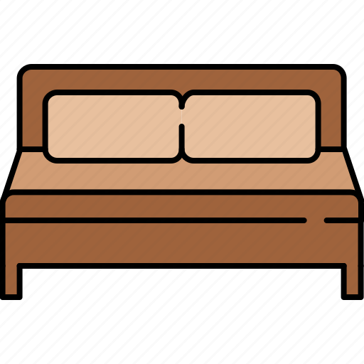 bed, double, fabric, furniture, wooden icon
