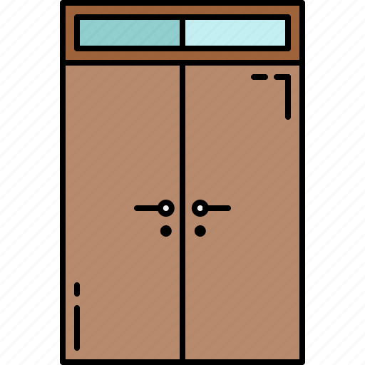 doors, double, frame, furniture, glass, wooden icon