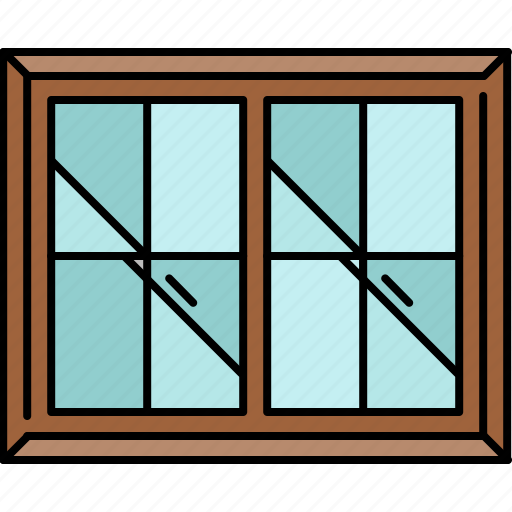 double, frame, furniture, glass, window icon