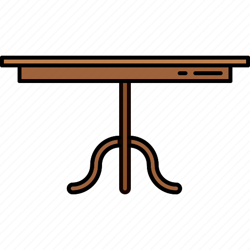 dining, furniture, legged, single, table, wooden icon