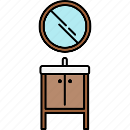 bathroom, doors, furniture, mirror, sink, small icon