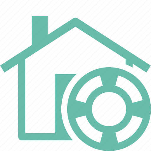 home insurance, home protection, house, lifebuoy icon