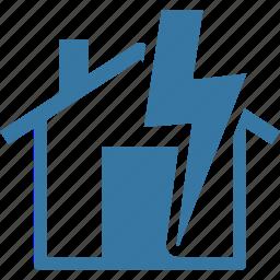 home insurance, house, lightning insurance, thunderstorm icon