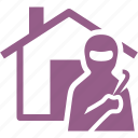 home insurance, house, thief, vandalism icon