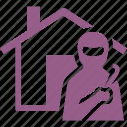home insurance, house, thief, vandalism icon