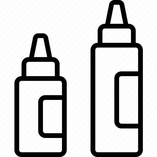 bottles, ketchup, mayo, mustard, sauce, spices, table icon