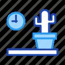 cactus, clock, decoration, furniture, home, living, property