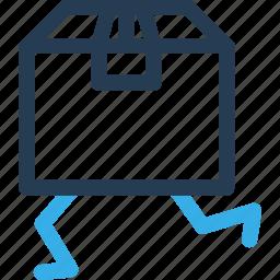 box, carton, delivery, move, run, shipping icon