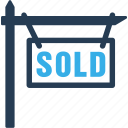 ecommerce, payment, real estate, sell, sign, sold icon
