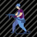 handyworker, hardhat, drill, electric, tool