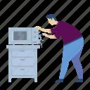handyman, fix, microwave, oven, broken