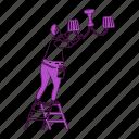 handyworker, chandelier, lightbulb, lamp, ladder