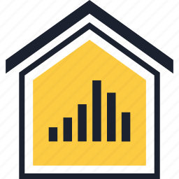 bars, data, equity, estate, home, real, up icon