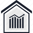 analytics, bars, equity, estate, home, real, up icon