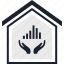bars, equity, estate, hand, home, real, up icon