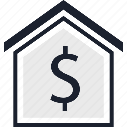 dollar, equity, estate, home, real, sign icon
