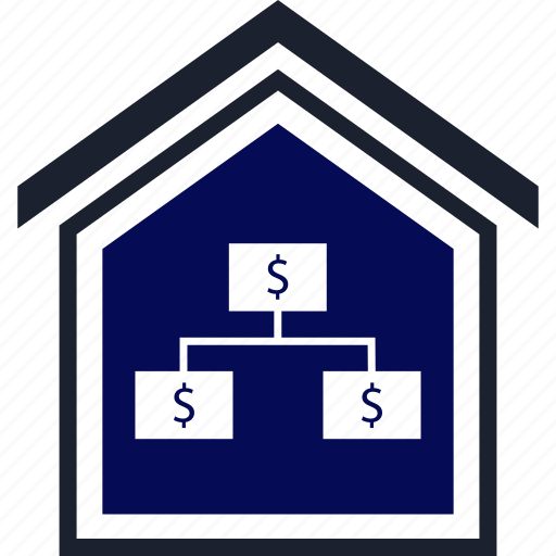 dollar, equity, estate, home, real, strategy icon
