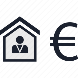 equity, estate, euro, home, house, real, realtor icon