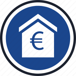 equity, estate, euro, home, house, real icon