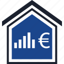 bars, equity, estate, euro, home, real, sign icon