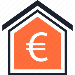 equity, estate, euro, home, real, sign icon