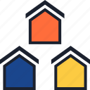 equity, estate, home, houses, real, three icon
