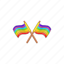 cartoon, flag, gay, lgbt, rainbow, sign, two icon