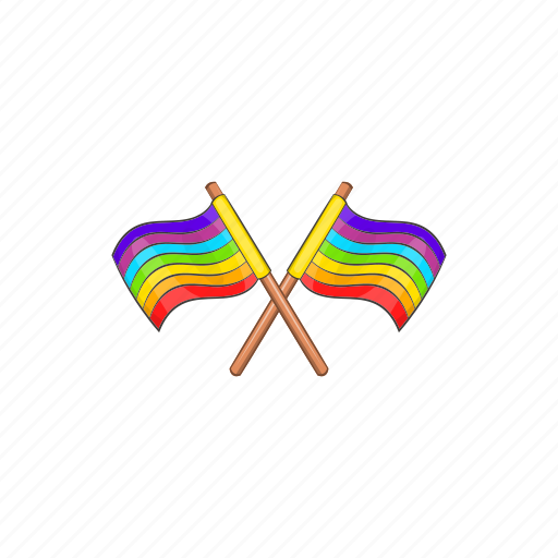 cartoon, flag, gay, lgbt, rainbow, sign, two icon