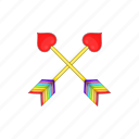 arrows, cartoon, lgbt, love, sign, two, valentine icon