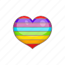 cartoon, colours, gay, heart, lgbt, rainbow, sign icon