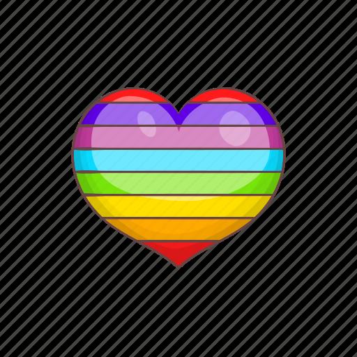 cartoon, colours, gay, heart, lgbt, rainbow, sign icon