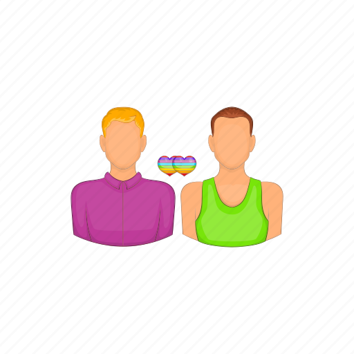 cartoon, couple, gay, homosexual, men, sign, two icon